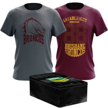 BRISBANE BRONCOS MENS TWIN TEE PACK TIN