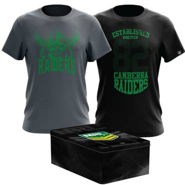 CANBERRA RAIDERS MENS TWIN TEE PACK TIN