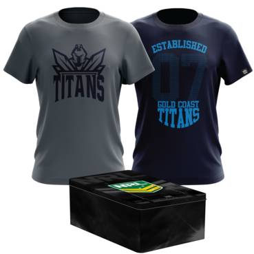 GOLD COAST TITANS MENS TWIN TEE PACK TIN