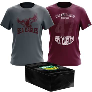 MANLY SEA EAGLES MENS TWIN TEE PACK TIN