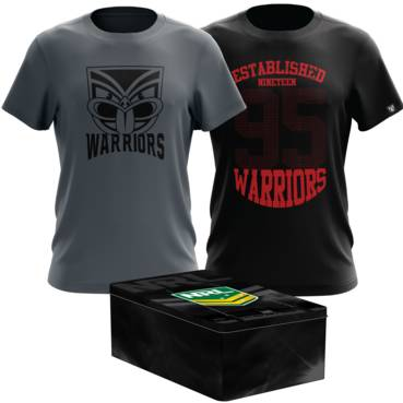 NEW ZEALAND WARRIORS MENS TWIN TEE PACK TIN