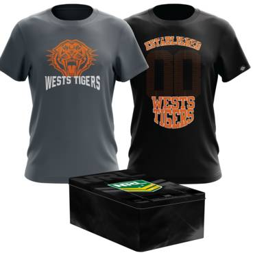 WESTS TIGERS MENS TWIN TEE PACK TIN