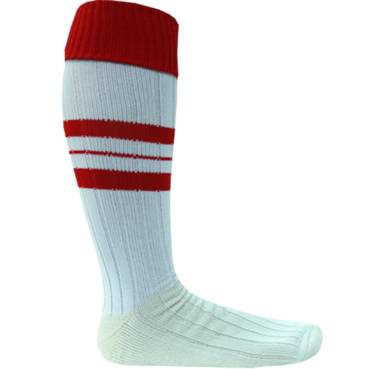 RED & WHITE  FOOTY SOCK