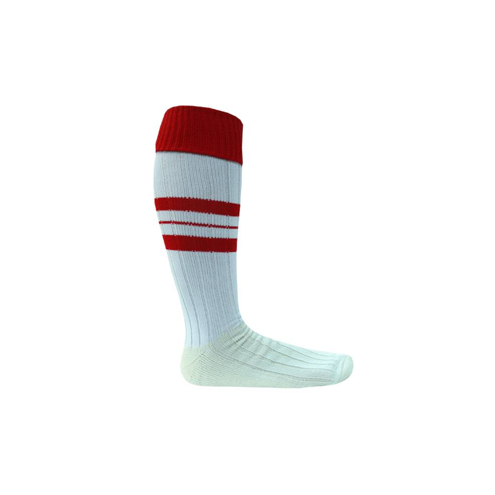 RED & WHITE  FOOTY SOCK0