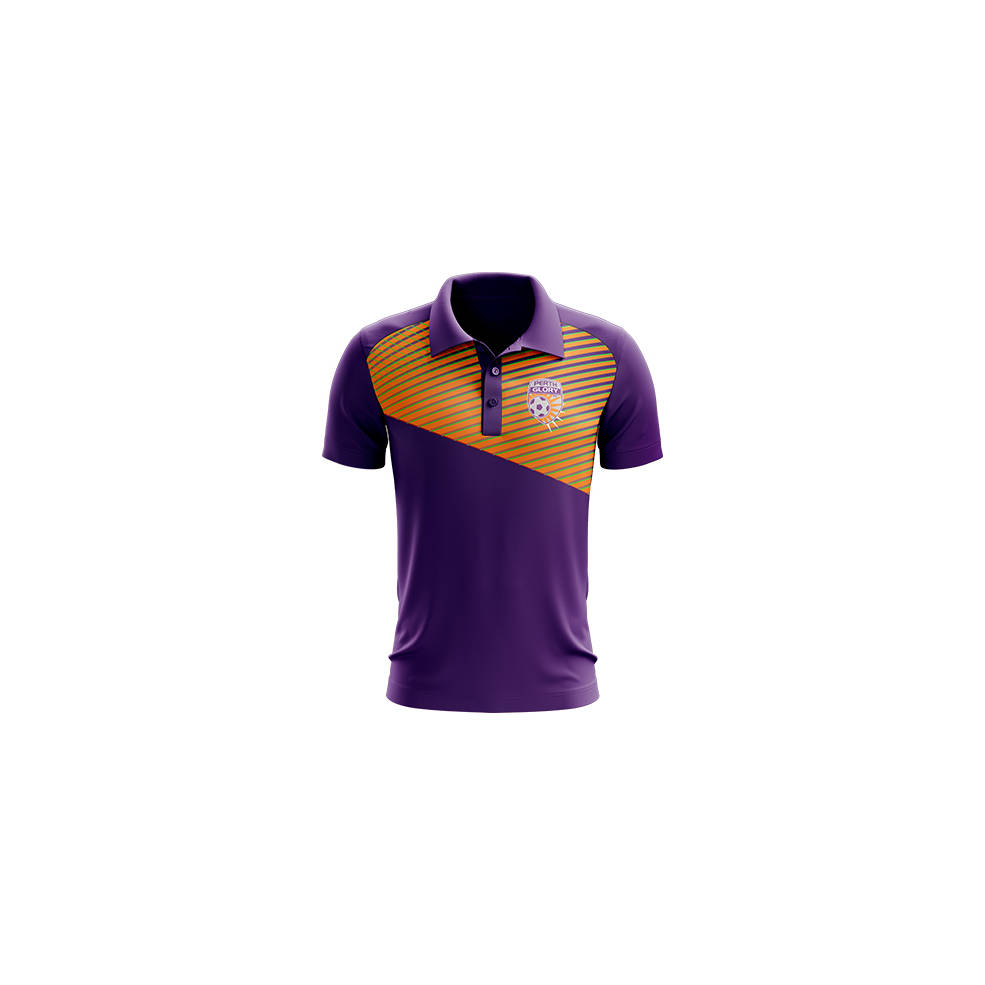PERTH GLORY MENS GEO STRIKE POLO0