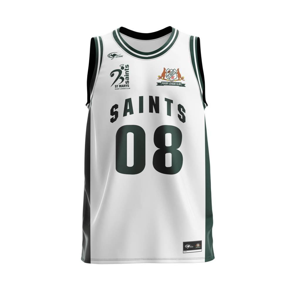 ST MARYS SAINTS BASKETBALL SINGLET WHITE0