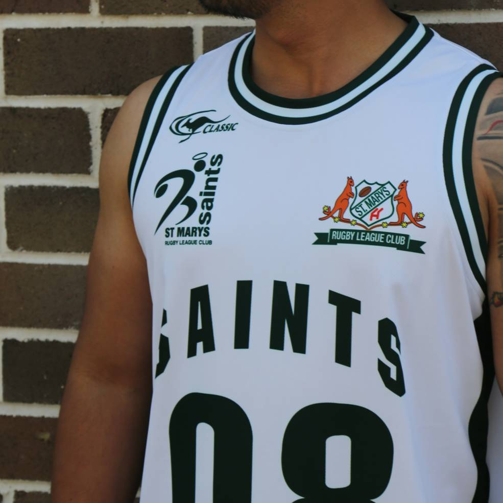 ST MARYS SAINTS BASKETBALL SINGLET WHITE1