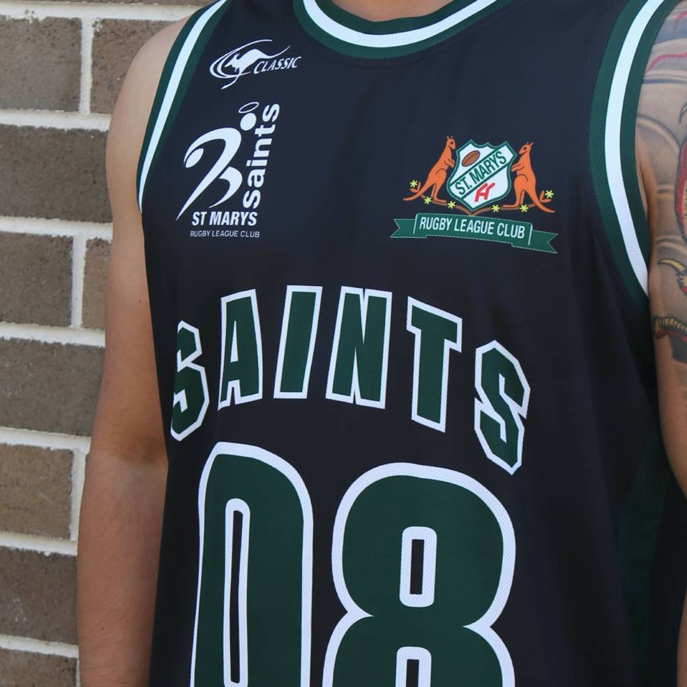 ST MARYS SAINTS BASKETBALL SINGLET BLACK1