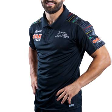 PENRITH PANTHERS 2019 MENS MEDIA POLO