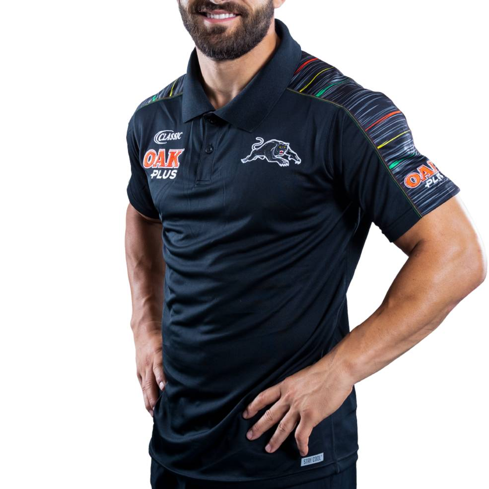 PENRITH PANTHERS 2019 MENS MEDIA POLO0