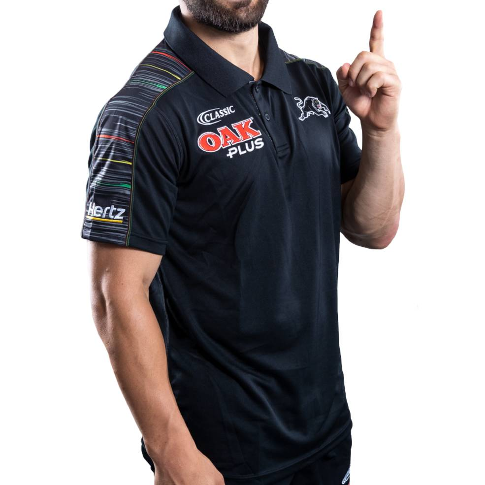 PENRITH PANTHERS 2019 MENS MEDIA POLO1