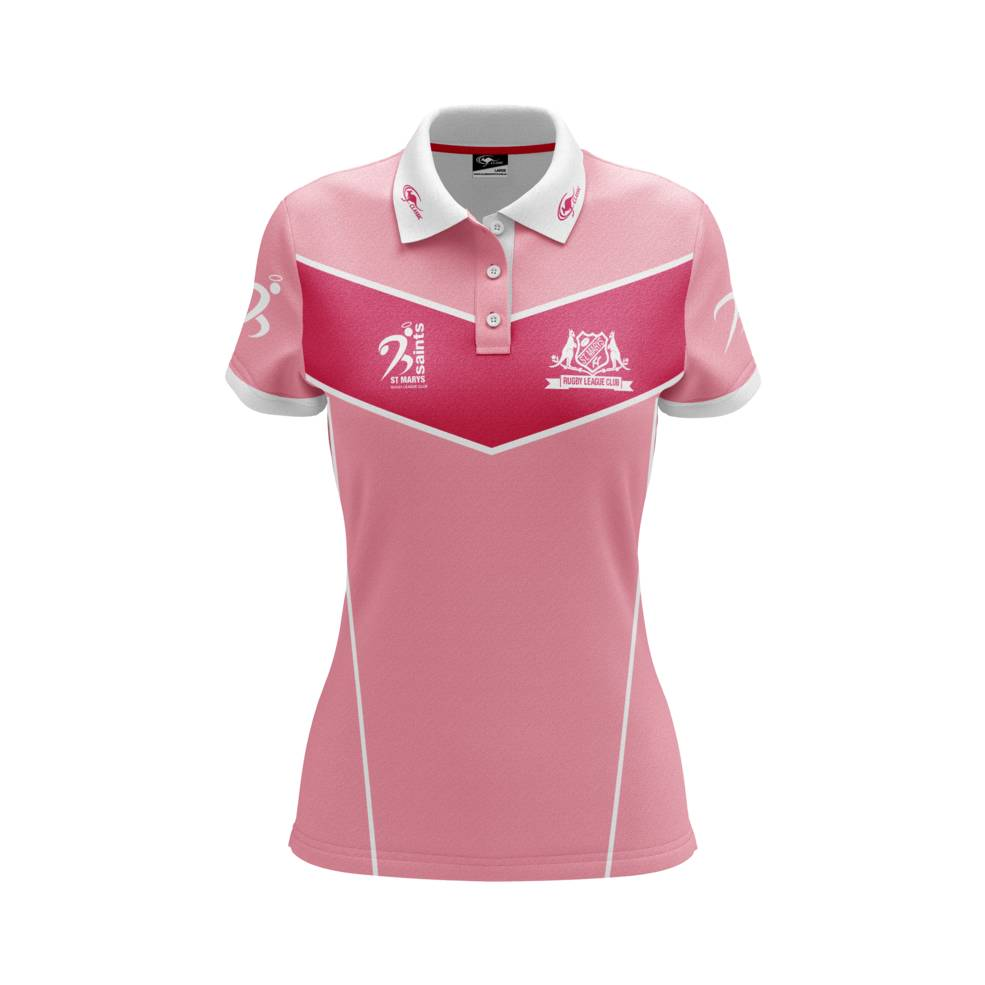 ST MARYS SAINTS WOMENS PINK POLO0