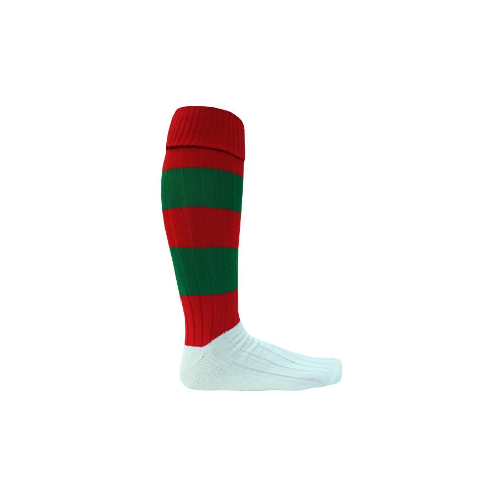 RED & GREEN FOOTY SOCKS0